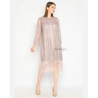 Alei, baju dress kondangan kebaya brokat tulle payet lilac nude