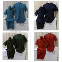 Baju Koko Couple ayah dan anak bahan katun rami size 1-12 tahun