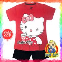 Setelan Baju Anak Perempuan Motif Hello Kitty Drink 1-10 thn anak boss - 1-2