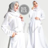 gamis putih M L XL manasik baju busana muslim wanita