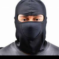 Masker Full Face Spandex Motor Helm Balaclava Ninja Polos Mack-HITAM