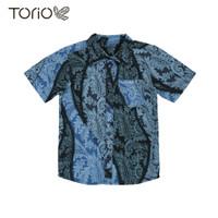 TORIO Smart Casual Blue Batik Shirt - Kemeja Batik Anak (6-12 tahun)
