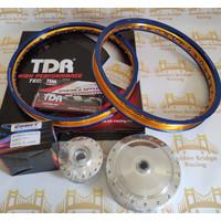 PAKET VELG TDR + JARI2 + TROMOL COMET RING 17 140/140 BLUE GOLD MIO