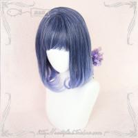 LOL-112 wig rambut palsu lolita cosplay daily blue black light