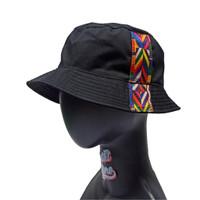 Topi Bucket Hat BucketHat Hitam List Pita Tali Polyster Etnik Pelangi - List Etnik