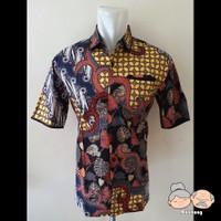 Baju Batik Pria Lengan Pendek W6 [Code : 50946] - Biru
