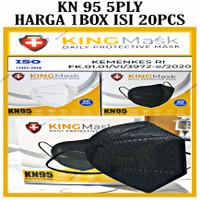 MASKER KN95 PREMIUM MASK MEDIS 5 PLY ISI 20 PCS KEMENKES KINGMASK - Hitam