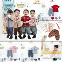 Baju Koko Anak / Baju Muslim Anak / Set Baju Koko Bayi - BZ - Brown, S