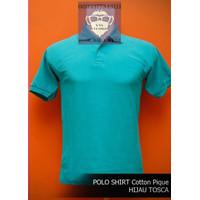 Kaos Polos Polo Shirt Baju Kerah Pria Wanita Cotton Pique Hijau Tosca