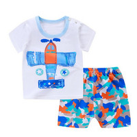 Baju Jumper Anak Piyama Pakaian Korea Celana Pendek Import - 80, Pesawat putih