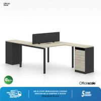 Meja Kerja Kantor S Shape Berhadapan 2 Orang + Meja Samping 3 Susun