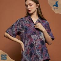 Skye&Fox Amadora - Kemeja Pantai Santai Full Print Pendek Pria Wanita - S