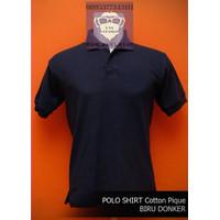 Kaos Polos Polo Shirt Baju Kerah Pria Wanita Cotton Pique Biru Dongker