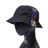 Topi Bucket Hat BucketHat Hitam List Pita Tali Polyster Etnik Segitiga - List Segitiga
