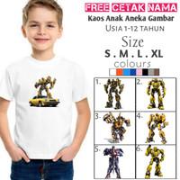 Kaos anak Robot transformer/kaos robot anak/baju anak aneka gambar - pink, XL