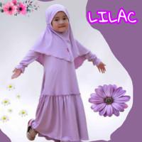 gamis anak lilac perempuan baju muslim 1 sampai 7 tahun warna Lilac - 1-2 tahun