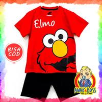 Setelan Baju Anak Laki-Laki Motif Elmo Red 1-10 thn anak boss - 1-2