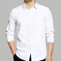 baju Atasan kemeja putih polos pria lengan panjang