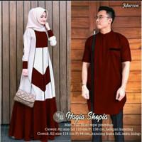 Sarimbit Baju Gamis Lebaran Couple Baju Koko lengan Pendek Modern Navy