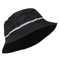 Topi Bucket Hat BucketHat Mancing KPOP Hitam Garis List Pita Putih - Hitam LISTPUTIH