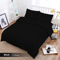Full Set Bedcover + Sprei Vito 3D Polos Queen 160 Warna Black Hitam