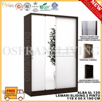 Lemari Pakaian 2 Pintu Sliding Besar + Cermin ALBA SL 120 Harga Pabrik