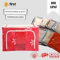 Storage Box/Organizer Pakaian Steel Frame Oxford 66L/Sun Flower Biru - Bunga Orange