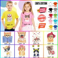 Kaos / Baju ANAK CAT KUCING BANYAK MOTIF (FREE NAMA) - Kaos Putih, Size 0 (6-12bln
