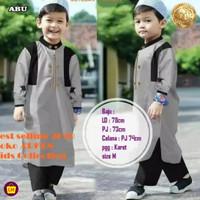 Stelan Koko Anak ARKEN Stelan Jubah anak Baju Koko Trendy Baju Lebaran - Abu-abu, XS (2-4 tahun)