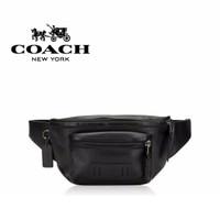 Coach Men Waistbag Double Pocket Black Tas Pinggang Pria Tas Selempang