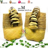 Bakul Cover Pot Purun Natural (Ukuran M) Harga Grosir