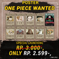 Poster Anime Bounty One Piece - Wanted Poster One Piece Satuan