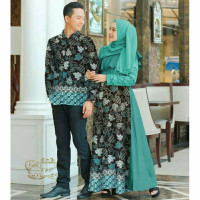 Batik Couple Syari Muslim Baju Gamis Pasangan Muslimah Keluarga Dress