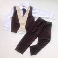 Baju setelan kemeja celana rompi dasi pergi pesta kondangan anak laki