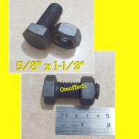 Baut Mur Hex Hexagon Besi Hitam 5/8 x 1-1/2 Kunci 23 5/8x1-1/2
