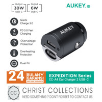 AUKEY CAR CHARGER MOBIL FAST CHARGING 30W DUAL TYPE C PD + QC CC-A4