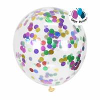 Balon Latex Transparant Isi Confetti / Balon Latex Bening Isi Confetti - mixed