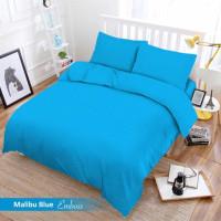 Full Set Bedcover + Sprei Vito Polos Queen 160 Warna Malibu Blue Biru