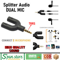 Spliter Audio 2 Microphone Dual Mic Aux Jack 3.5mm Berkualitas