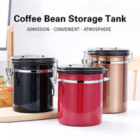 coffee canister storage airtight / toples stainless kopi kedap udara