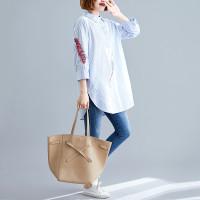 NARA SHIRT -PREMIUM DRESS WANITA IMPORT HK BIG SIZE/JUMBO GAMIS/KAFTAN - Salur Biru, XL