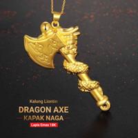 Kalung Liontin Dragon Axe -Kapak Naga- Lapis Emas 18k (8BK12)