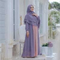 Baju Gamis Syari Wanita Terbaru Yasmin Set Khimar 2 In 1 Termurah