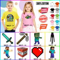 Kaos / Baju ANAK MINECRAFT BANYAK MOTIF (FREE NAMA) - Kaos Putih, Size 0 (6-12bln