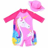 Baju Renang Anak Perempuan Motif Unicorn set Topi - 130