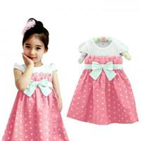 Baju Dress lebaran Anak Perempuan 2 3 4 tahun Baby Terry Pink MURAH