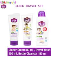 Sleek Baby TRAVEL SET Diaper Cream Laundry Travel Wash Bottle Cleanser