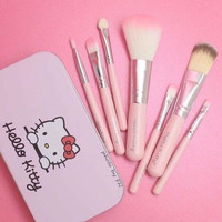 BRUSH SET KUAS HELLO KITTY PINK ISI 7 KUAS MAKE UP