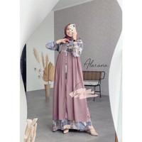 Dress Gagil Busui Gamis Original Two Pcs Alarana Muslim By Lillywhite