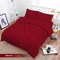 Full Set Bedcover + Sprei Vito Polos King 180 Warna Maroon Merah Tua